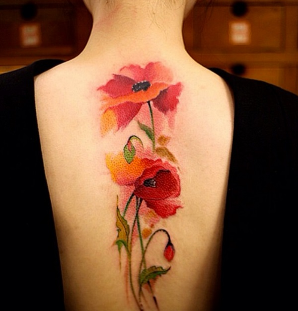 poppy floral tattoo